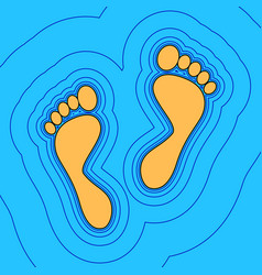 Foot prints sign sand color icon with vector