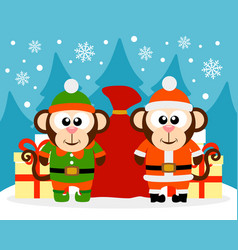 happy new year card with monkey santa claus vector image