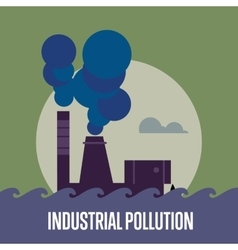 Industrial pollution factory with smoke stack vector