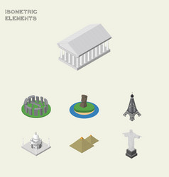 Isometric travel set of rio paris athens and vector