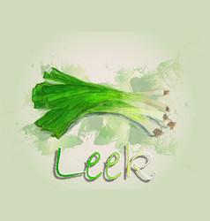 Leek watercolor food vector