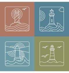 Lighthouse logo design templates - linear vector