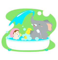 Little girl take a bath with elephant in tub vector