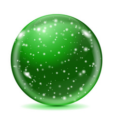 magic green ball with snowflakes vector image vector image