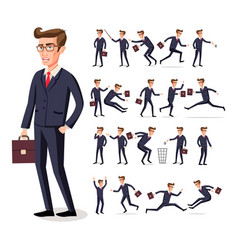 male businessman in dark suit and red tie at work vector image