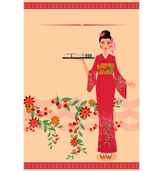 Menu template with young japanese girl vector