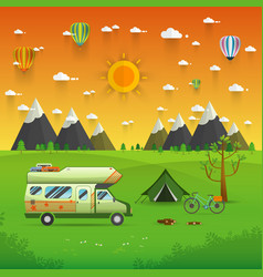 National mountain park camping scene with family vector