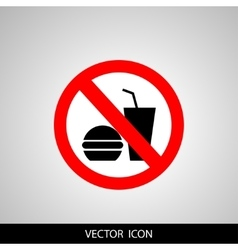 no food or drink allowed symbol prohibiting sign vector image vector image