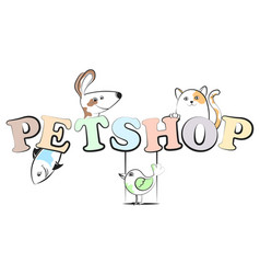 pet shop cheerful vector image vector image