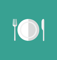 Plate and cutlery icon vector