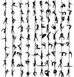 Pole dance women silhouettes vector