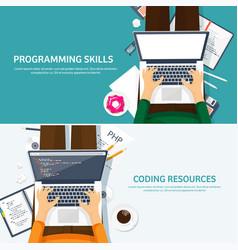 programmingcoding flat computing background vector image