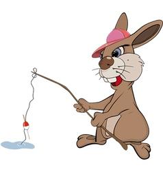 Rabbit the fisherman vector image