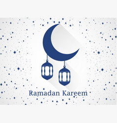 Ramadan kareem lantern and moon with long shadow vector