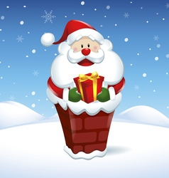 Santa Claus into the chimney with box gift vector image