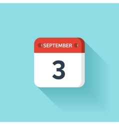 September 3 isometric calendar icon with shadow vector