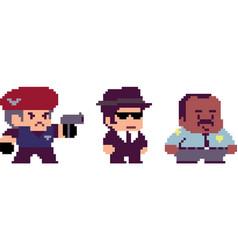 set of pixel characters vector image vector image