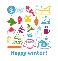 Set of winter objects merry christmas happy new vector