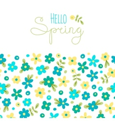 Sizon card Hello Spring with cute flowers vector image vector image