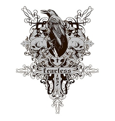 Skull with raven vector image
