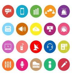 Sound flat icons on white background vector image
