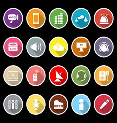 Sound icons with long shadow vector image vector image