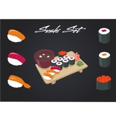 Sushi set soy sauce and roll japanese food vector