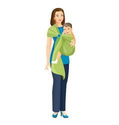 woman carries little baby boy in sling shoulder vector image
