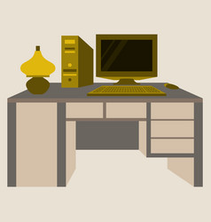 workplace desk computer lamp top angle view flat vector image vector image
