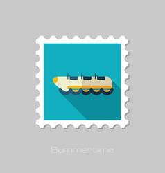 Yellow banana boat ride stamp summer vacation vector