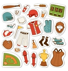 Cartoon baseball icons set vector