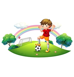 A boy in a soccer field vector
