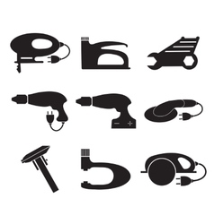 Tools mechanic icons set black silhouette vector image
