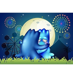 Two monsters comforting each other at the carnival vector image