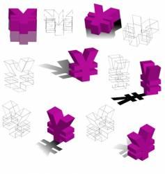 3d symbols yen vector image