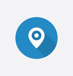 Map pin flat blue simple icon with long shadow vector