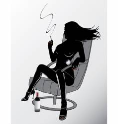 Sexy woman smoking vector