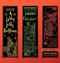 Set of vertical bright christmas banners vector