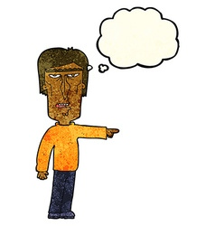 Cartoon pointing man with thought bubble vector