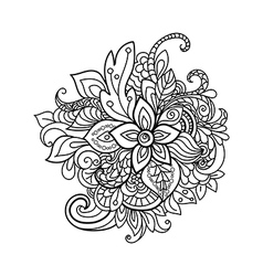 Design element zentangle floral pattern vector