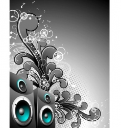 Speaker box with floral elements vector