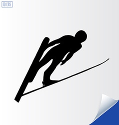 Jumping skier silhouette on white background vector