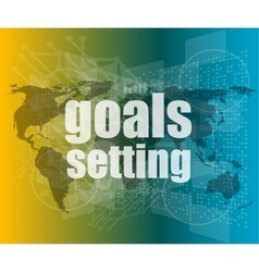 Goal setting concept - business touching screen vector