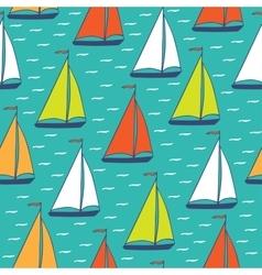 Colorful sailboats seamless pattern vector