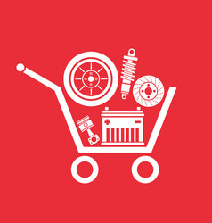 auto parts in the supermarket trolley vector image vector image