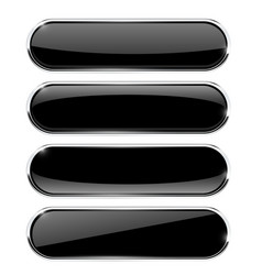 black oval buttons with chrome frame vector image vector image