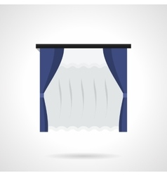 Blue window drapes flat color icon vector