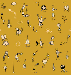 Cartoon characters doodles seamless pattern vector