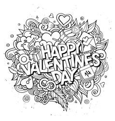 Cartoon hand drawn Doodle Happy Valentines vector image vector image