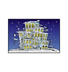 Cartoon night city coated by snow vector